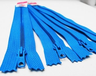 Metal Zippers- 18 cm 7 inch closed bottom Eclair Prestil zippers Jupe zips- (4) pieces - turquoise Zippers