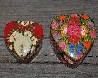 Two small vintage heart shaped paper mache Kashmir India boxes