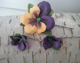 Spring inspired Hair Pins, set of 6 paper pansy and violet flowers on silver hair pins, perfect for any occasion,  wedding hair, bridal hair