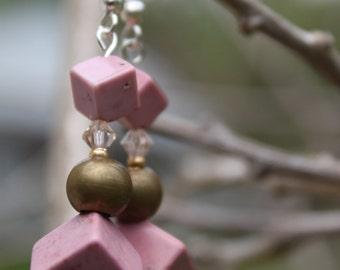 Pink Howlite Drop Earrings, Dangle Earrings