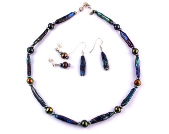 Sterling Silver & Abalone Pearl Bead Demi Parure