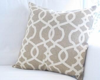 Oatmeal Neutral Trellis Lattice Pillow Cover, Chair Pillow, 20x20 inch decorative pillow, Neutral Beige Pillow, Neutral Home Decor