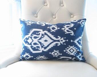 lumbars, navy ikat lumbars, blue chair pillow, 12x18 inch decorative pillows, blue pillows, ikat pillow, ikat lumbar, ikat decor, blue 12x18