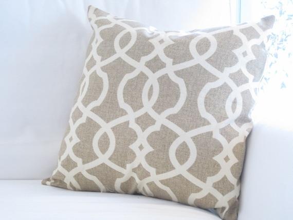 Oatmeal Neutral Trellis Lattice Pillow Cover By