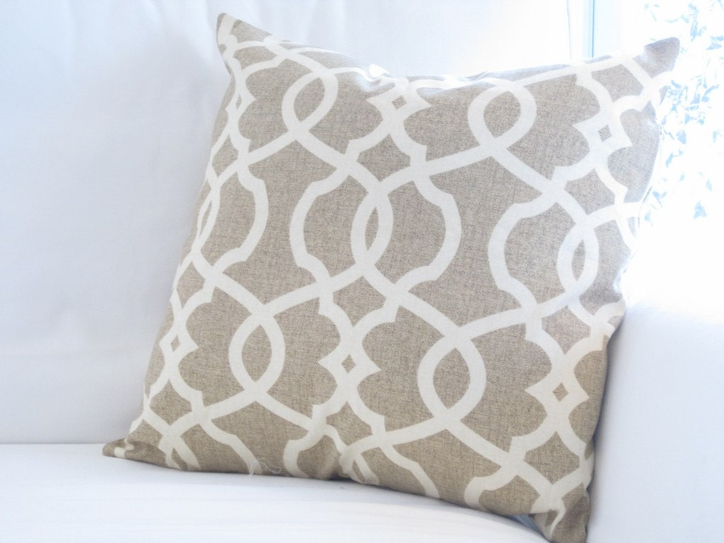 Throw Pillows Native American : Oatmeal Neutral Trellis Lattice Pillow Cover Chair Pillow