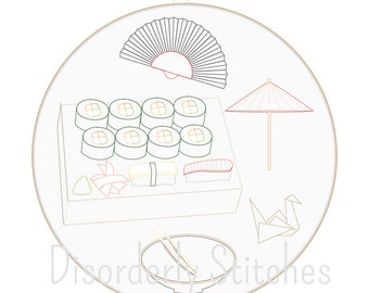 Japanese Set Hand Embroidery PDF Pattern Instant Download