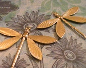 2pcs Raw Brass Dragonfly Brass Stamping Findings Jewelry Supplies Collage Mixed Media Made Scrapbooking Embellishments Made In The USA