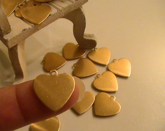 Heart Charm Blanks Raw Brass Stampings Brass Stamping Metal Findings Jewelry Supplies Jewelry Making Supplies Mixed Media DIY Finish 10pcs