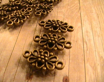 6pcs Antique Bronze Flower Connectors Findings 16x8mm Commercial Jewelry Supplies Findings 97th Street Supply