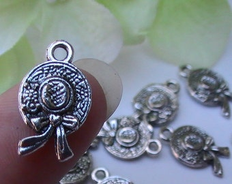 6pc Vintage Styled Ladies Hat Charm Antique Silver Charm Jewelry Supplies Findings Scrapbooking Embellishments Gift Tags Wedding Favor DIY