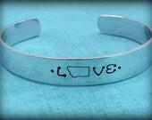 Montana LOVE Cuff Bracelet - Hand Stamped Love Montana Cuff Bracelet in Aluminum - QUICK SHIP - Montana State Jewelry - Montana Bracelet