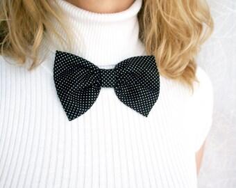 Black bow. Black polka dots bow brooch. Classic bow. Girls bows brooch. black hair clip. Ready to ship
