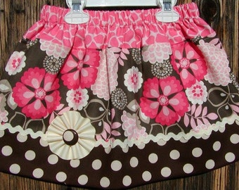 Girls skirt, Infant skirt, toddler skirt, Custom..Flower Puff..sizes 0 to 10
