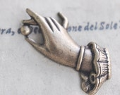 Brass Stamping of Hand with Pearl, oxidized brass