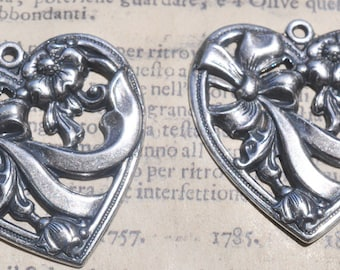 Two Neo Victorian heart charms with bow, Sterling Silver Finish