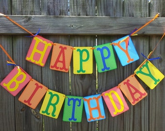 Brightly Colored Polka Dot Happy Birthday Banner With Large Letters