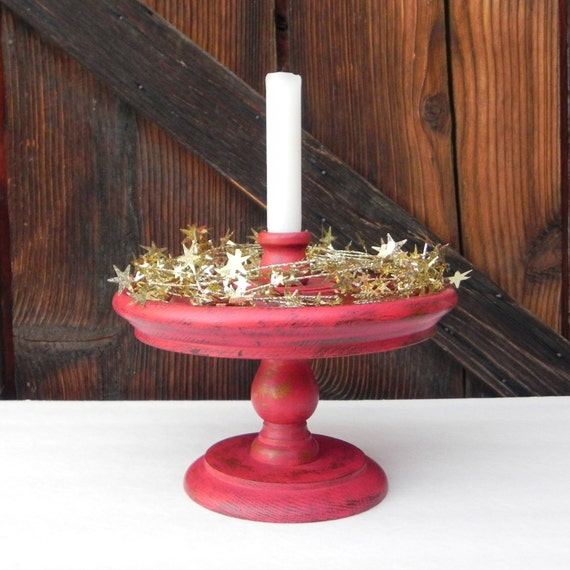 Shabby chic red pedestal candle holder centerpiece christmas