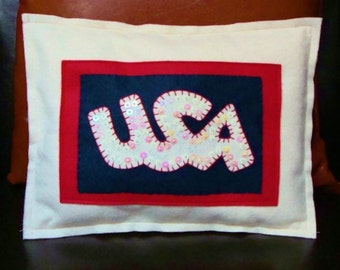 Finished Ready To Ship-USA Felt Appliqued Pillow-Sequins and Bead Accents