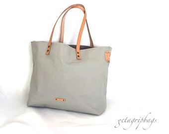 VINTAGE TOTE - Gray - Beach Bag Size