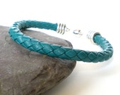 teal braided leather bracelet, unisex leather cuff, rocker cuff, braided leather cuff, initial charm cuff, mens personalised leather cuff