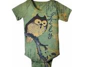 Owl Baby Bodysuit. Personalized Infant Shirt, Custom Owl Snapsuit