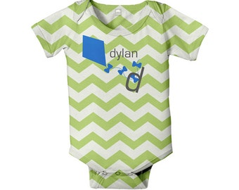 Baby Bodysuit, Personalized Chevron Kite Gender Neutral Boy Girl Infant Onepiece, Snapsuit