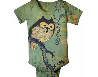 Owl Baby Bodysuit. Personalized Infant Shirt, Custom Owl Snapsuit