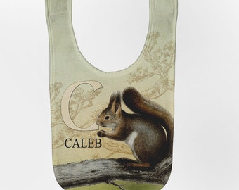 Squirrel Baby Bib, Personalized Baby Bib, Baby Woodland Animal Bib, Custom Infant Bibs