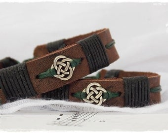 Irish Leather Bracelet, Celtic Knot Jewelry For Him, Leather Celtic Bracelet, Celtic Leather Bracelet, Love Knot Bracelet, Nordic Bracelet