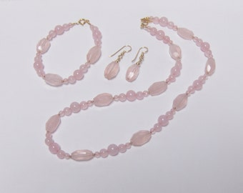 Rose Quartz Bead Necklace Bracelet & Earring Set // Gemstone Bead and 14K Gold filled Jewelry