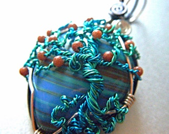 Tree of Life Pendant - Turquoise and Goldstone - teal and seafoam wire - copper and black