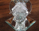 Vintage Beveled Glass and Mirror Candle Holder for Tea Light or Votive