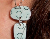 Recycled Tin Earrings . . . Modern Art for your Ears . . . Repurposed Upcycled Blue Balanced Beauties . . . Mrs. Miro would love them, too