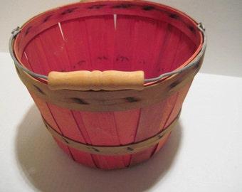 Wood Basket w Handle 030114