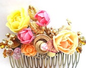 Spring Hair Comb Fashion Accessory Upcyled Vintage Repurposed Jewelry