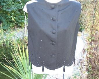 Shirt Vest Black Tassels Beads 1970s