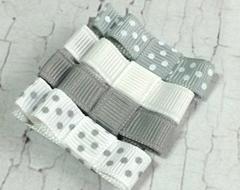 Grey and White Polka Hair Clips Baby Hair Clips - Alligator Clip Set - Baby, Girl, Toddler, Children