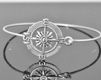 Compass Bangle, Sterling Silver Bangle, Compass Bracelet, Stackable Bangle, Charm, Bridesmaid Bangle, Bridesmaid jewelry, Bridal Bracelet
