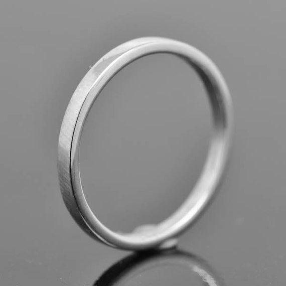 14k palladium white gold ring 2mm x 1mm flat wedding band