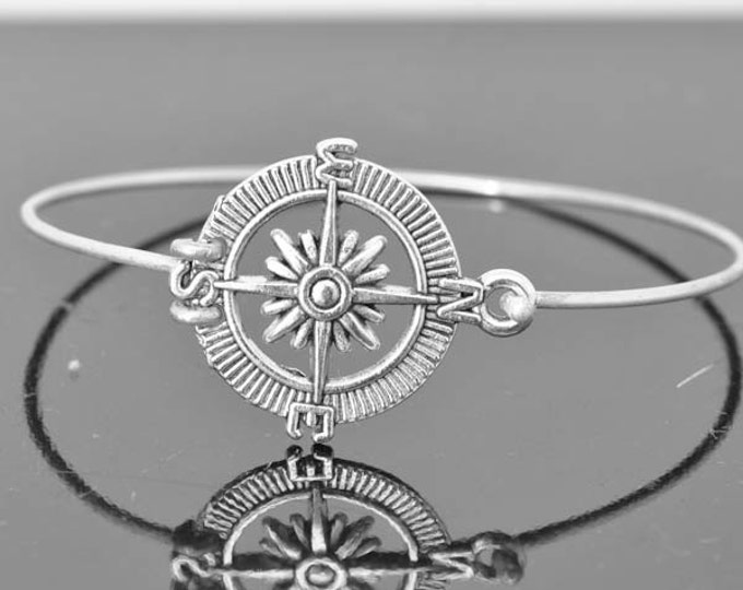 Compass Bangle, Sterling Silver Bangle, Compass Bracelet, Stackable Bangle, Charm, Bridesmaid Bangle, Bridesmaid jewelry, Bridal Bracelet