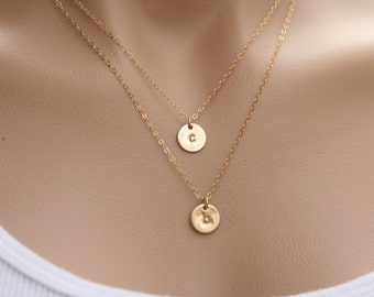 Double Layered Gold initial necklace,Personalized,two personalized discs, double Monogram,sister,mother and baby,couple