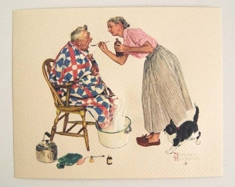Vintage Norman Rockwell Spring Tonic The Tender Years Embossed Print
