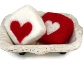 Valentine's Day Soap Gift Set // Iron Soap Dish with His & Hers Heart Felted Soaps // Shea Butter Soaps // Sweet Wedding Gift