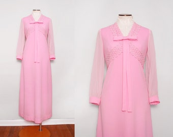 1960s Pink Maxi Dress / Vintage 60s Bubble Gum Dress / Medium
