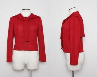 Vintage Red Sailor Top / Nautical Cardigan Sweater / Medium Large