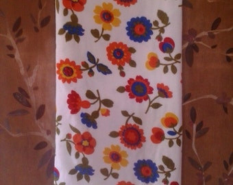 1970s flower power terry towelling fabric piece