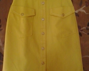 80s bright yellow pencil skirt