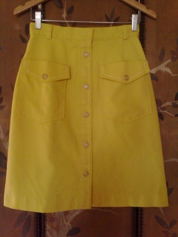 80s bright yellow pencil skirt