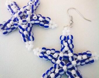 Coastal Bead woven jewelry Starfish Star Earrings handmade beadwoven