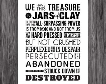 Jars of Clay. 2 Corinthians 4:7-9. 8x10in. DIY. PDF. Printable Christian Poster. Bible Verse.